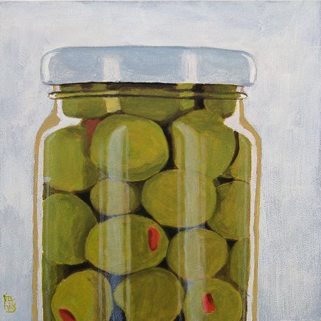 """Olive Jar acrylic still life painting"" original fine art by Ria Hills"