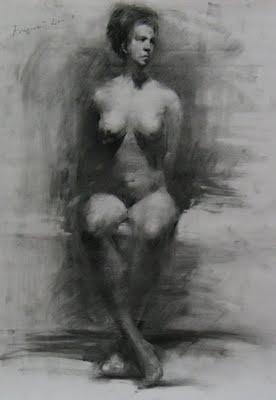 """""""Figure drawing 1"""" original fine art by Fongwei Liu"""