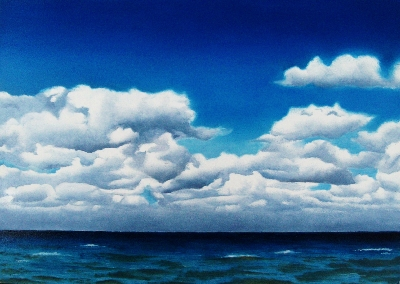 """Cottony Clouds"" original fine art by Jacqueline Gnott, TWSA, WHS"