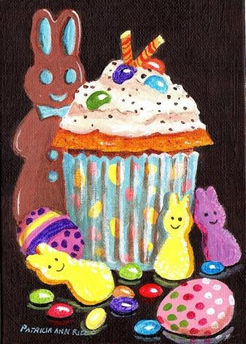 """""""Just Another Easter Cupcake"""" original fine art by Patricia Ann Rizzo"""