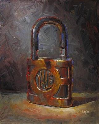 """Yale Lock"" original fine art by Raymond Logan"