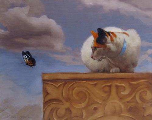 """Escape by Fight, painting of cat and butterfly"" original fine art by Diane Hoeptner"
