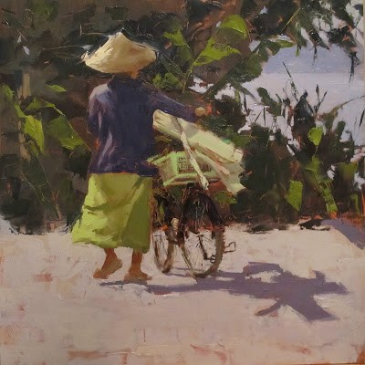 """Local transport, Mekong River, Phon Phisai, THAILAND"" original fine art by Helen Cooper"