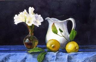 """Watercolor: White Freesia & Lemons on Blue"" original fine art by Belinda Del Pesco"