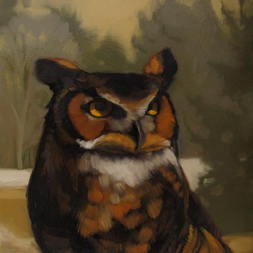 """Sanctuary Owl"" original fine art by Diane Hoeptner"