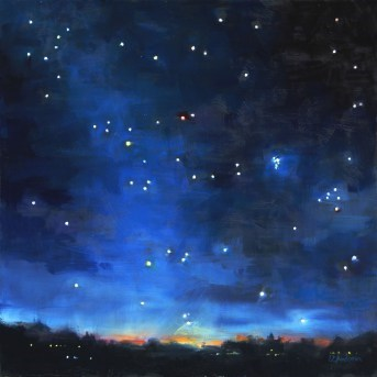 """Oil Painting of the Night Sky: Seven Sisters"" original fine art by Deb Anderson"