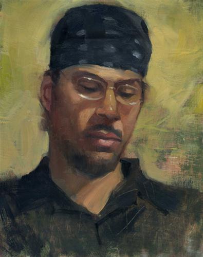 """Man in Bandanna"" original fine art by Kathy Weber"
