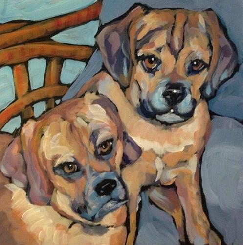 """Pair Of Pups on a Chair"" original fine art by Kat Corrigan"