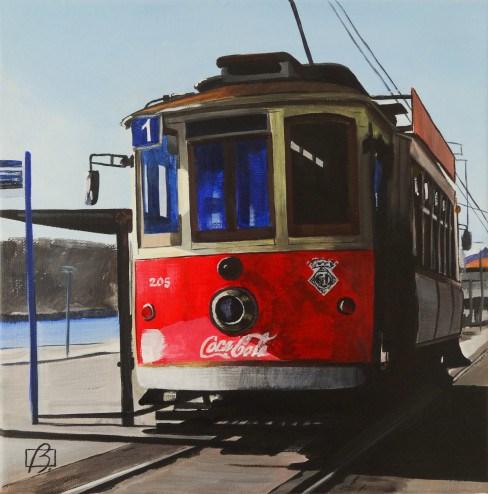"""Porto Tram II"" original fine art by Andre Beaulieu"