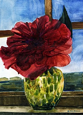 """""""Watercolor: Camellia on 1st Day of Spring (& a daily painting by Neil Hollingsworth)"""" original fine art by Belinda Del Pesco"""