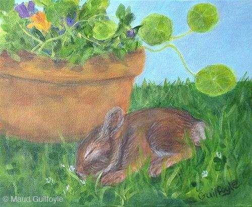 """Baby rabbit from the Garden"" original fine art by Maud Guilfoyle"