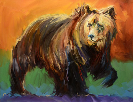 """BEAR WILDLIFE ANIMAL ART OIL PAINTING ORIGINAL ARTOUTWEST DAILY PAINTING D WHITEHEAD NOVEMBER 1"" original fine art by Diane Whitehead"