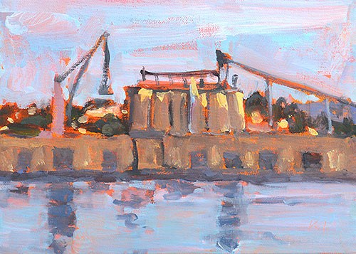 """Docks, San Diego"" original fine art by Kevin Inman"