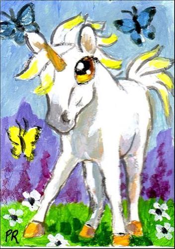 """""""Little Unicorn"""" original fine art by Patricia Ann Rizzo"""
