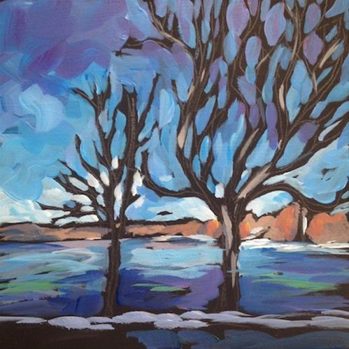 """""""Two Trees By The Lake"""" original fine art by Kat Corrigan"""