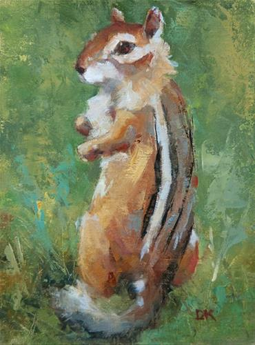 """Chip - Original Wildlife Painting of Chipmunk - Deb Kirkeeide"" original fine art by Deb Kirkeeide"