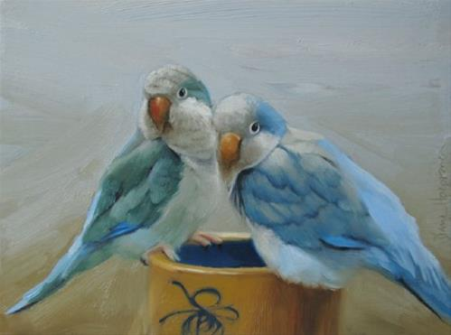 """Perched, painting pair of birds on antique crock"" original fine art by Diane Hoeptner"