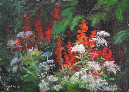 """""""Cardinal Flowers and Queen Anne's Lace"""" original fine art by Jamie Williams Grossman"""