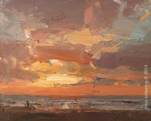 """Painting a Sunset"" original fine art by Roos Schuring"