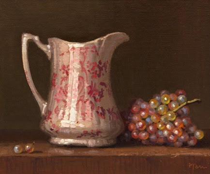 """""""Still life with Pitcher and Moscato Grapes"""" original fine art by Abbey Ryan"""