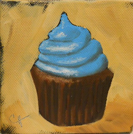 """Chocolate Cupcake"" original fine art by Claire Henning"