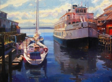 """The Argosy Seattle, marine painting by Robin Weiss"" original fine art by Robin Weiss"