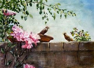 """""""Watercolors: Back Yard Happy Hour & Perch"""" original fine art by Belinda Del Pesco"""