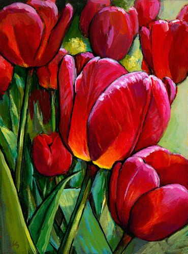 """""""Red Tulips, Green Leaves"""" original fine art by Lesley Spanos"""