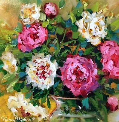 """Grand Opening Pink Peonies - Flower Paintings by Nancy Medina"" original fine art by Nancy Medina"