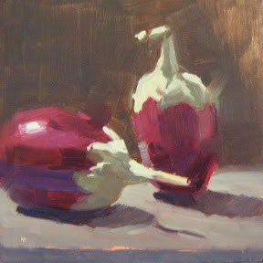 """MINI AUBERGINES #2"" original fine art by Helen Cooper"