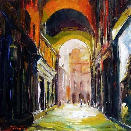 """""""Auf der Straße von Bologna"""" original fine art by Jurij Frey"""