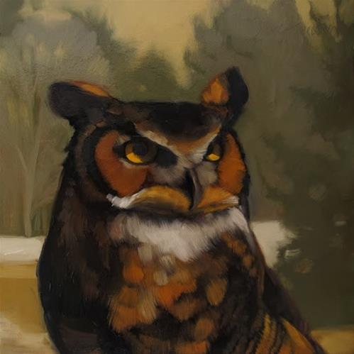 """Sanctuary Owl small wildlife painting of bird"" original fine art by Diane Hoeptner"
