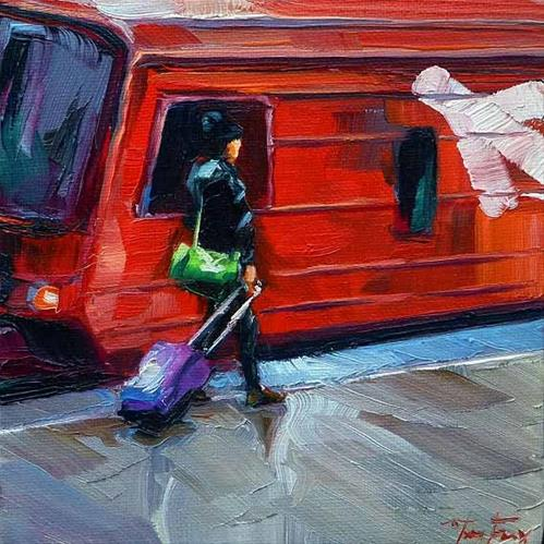 """Aeroexpress nach Vnukovo"" original fine art by Jurij Frey"