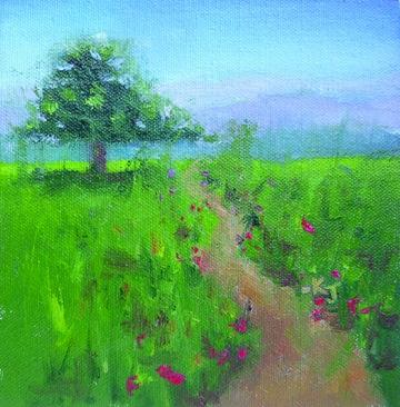 """#7 Lone Oak, Spring Wildflowers"" original fine art by Kathy Johnson"