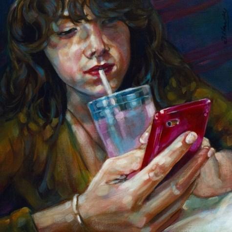 """""""2BZ4UQT 6X6 acrylic on panel"""" original fine art by Angela Hardy"""