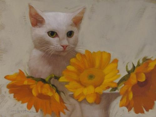 """""""Ivory Sees painting of white cat behind sunflowers"""" original fine art by Diane Hoeptner"""