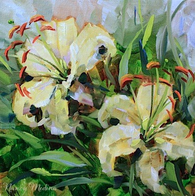 """""""Day by Day Lilies and a Flower Painting Workshop by Texas Artist Nancy Medina"""" original fine art by Nancy Medina"""