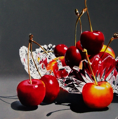 """Cherries in Crystal Bowl"" original fine art by Jacqueline Gnott, TWSA, WHS"
