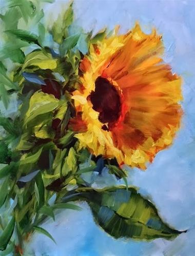 """Fall Glow Sunflower by Floral Artist Nancy Medina"" original fine art by Nancy Medina"