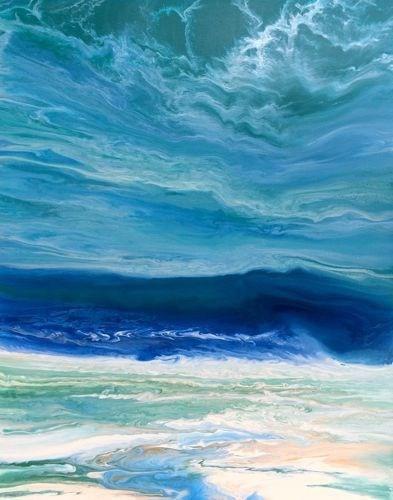 """Original Contemporary Abstract Seascape Beach Painting,Coastal Decor Art Royal Wave III by Colorad"" original fine art by Kimberly Conrad"