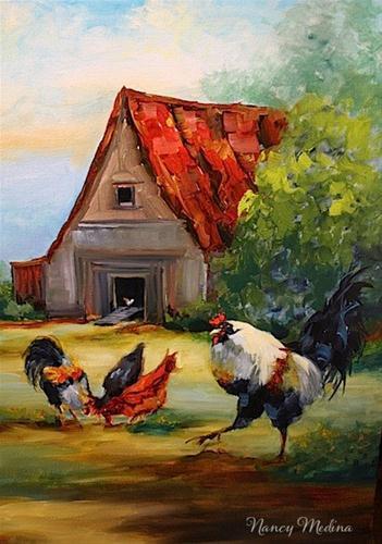 """Farmyard Drama - Rooster Painting by Texas Artist Nancy Medina"" original fine art by Nancy Medina"