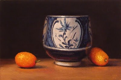 """""""Blue & White Cup with Kumquats"""" original fine art by Abbey Ryan"""