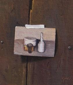 """""""Morandi Postcard (Oil Still Life, 1964)   (+ Peto Museum Trompe L'oeil Exhibition)"""" original fine art by Abbey Ryan"""