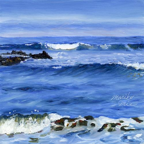 """Waves at Sunny Morning"" original fine art by Mariko Irie"