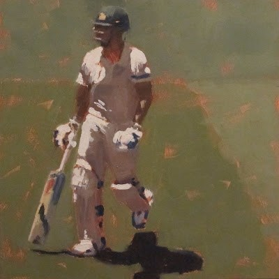 """BATSMAN 7 - Cricket at the MCG"" original fine art by Helen Cooper"