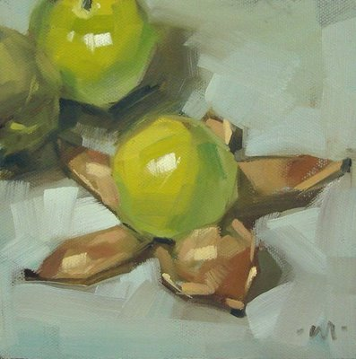 """Tomatillo's Undressing"" original fine art by Carol Marine"