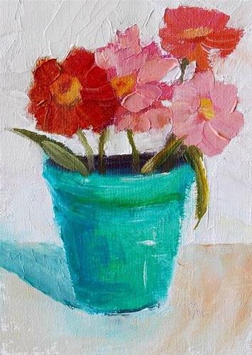 """Flowers in Turquoise Pot"" original fine art by Pamela Munger"