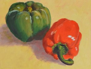 """Red and Green"" original fine art by Robert Frankis"