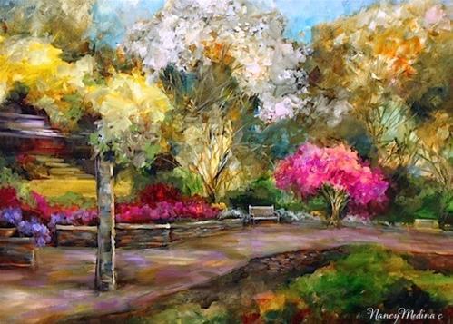 """""""Dallas Arboretum Azaleas and Cherry Blossom Stroll by Floral Artist Nancy Medina"""" original fine art by Nancy Medina"""