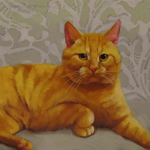 """Against All Odds, painting of orange cat and link to feel good story"" original fine art by Diane Hoeptner"